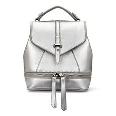 Yoins Leather-Look Mini Backpack (2.210 RUB) ❤ liked on Polyvore featuring bags, backpacks, yoins, handbags, silver, fake leather backpack, vegan leather backpack, snap bag, faux leather backpack and vegan backpack