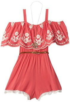 Beautees Big Girls Off the Shoulder Ruffle Romper Coral 14 *** You can find more details by visiting the image link.Note:It is affiliate link to Amazon.