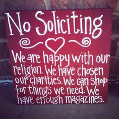 12 by 12 CUTE No Soliciting Sign by SweetSerendipityAlly on Etsy, $20.00
