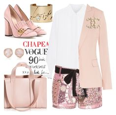 """""""Punk in pink"""" by pensivepeacock ❤ liked on Polyvore featuring Moschino, Corto Moltedo, Lanvin, Gucci, Tom Ford, STELLA McCARTNEY, Monica Vinader and Chanel"""