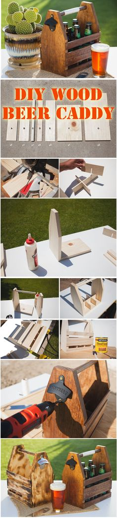 DIY beer caddy for summer bbqs or a personalized gift for him! Diy Wood Projects, Diy Projects To Try, Wood Crafts, Woodworking Projects, Diy And Crafts, Beer Crafts, Recycle Crafts, Woodworking Techniques, Craft Beer