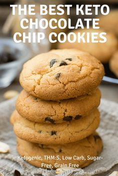 These are the Best Keto Chocolate Chip Cookies in the world! Not only are they awesome, they are ketogenic, low carb, a THM:S fuel, sugar free, and grain free! #keto #ketogenic #trimhealthymama #lowcarb #sugarfree #cookies #chocolatechipcookies