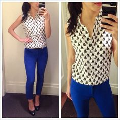 Print collared top / button down with royal blue skinnies & heels. #extrapetite