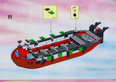 Thousands of complete step-by-step printable older LEGO® instructions for free. Here you can find step by step instructions for most LEGO® sets. Black Mode, Lego Pirate Ship, Lego Group, Lego Instructions, Lego Sets, Legos, Pirates, History, Lego Games