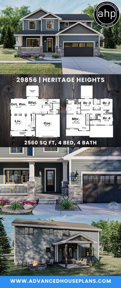 2 Story Craftsman Style House Plan | Heritage Heights    #advancedhouseplans #houseplans floorplans #homeplans #designbuild #homebuilderplans #heritageheights #craftsman #traditional #homestyle #styleyourway #foreverhome #newhomedesign #homeideas #exteriorhomeideas #curbappeal #homeexterior #craftsmanhome Open Floor House Plans, Porch House Plans, Basement House Plans, Floor Plans, Craftsman Bungalow House Plans, Craftsman Style Homes, House Plans Australia, Small Modern House Plans, Affordable House Plans