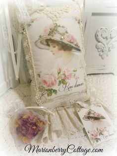 KEEPSAKE Gift Pillow w/matching tag and sachet French Dreams of Love