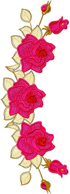 rose-decoration-free-embroidery-design.With vibrant fushia pinks and red thick stitches, which contrast with the more loose running stitch of the leaf section of the motif. The use of 2 primary coloured palette with variation in shade and tone creates an elegant and attention capturing appearance.