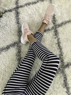 pink sneakers, striped leggings, loungewear, athleisure outfit, petite fashion blog - click the photo for outfit details!