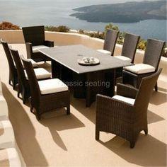 Modern 9 Piece Luxury Dining Wicker Patio Outdoor Rattan Furniture Set #Sunset