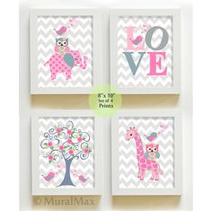 Nursery Art for Children, Kids Wall Art, Baby Girl Nursery Decor ,Set of four 8x 10 Prints ,Tree  Owl  Elephant Decor,  Purple