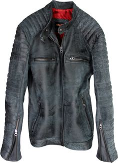 R100 Leather Jacket Mens Cafe Racer Motorcycle Distressed Soft Lambskin - Antique Gray