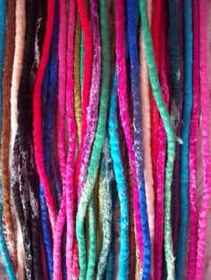 Felt Dreadlock Extensions, Dreads, Locks, Hair Falls, Colourful Hair Ties.Funky Hair Accessories.