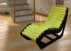Tennis balls are a surprising material for modern chairs design that brings unique texture and softness into colorful and playful furniture design