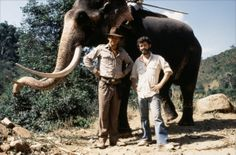 Harrison Ford & George Lucas on the set of Indiana Jones and the Temple of Doom (1984)
