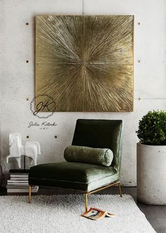 "Abstract Gold Painting ""Rays"" Gold Leaf Art on Canvas by Julia Kotenko Oversized Canvas Art, Large Canvas Art, Large Wall Art, Gold Wall Decor, Gold Leaf Art, Painted Leaves, Gold Walls, Oil Painting Abstract, Gold Paint"