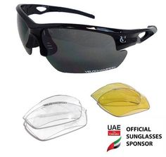 VeloChampion Tornado Cycling Running Sports Sunglasses - Black with 3 Sets of Interchangeable Lenses and Soft Carry Pouch Round Face Sunglasses, Sports Sunglasses, Sunglasses Sale, Sunglasses Online, Sunglasses Accessories, Cycling Glasses, Accessories Store, Clothing Accessories, Golf Outfit