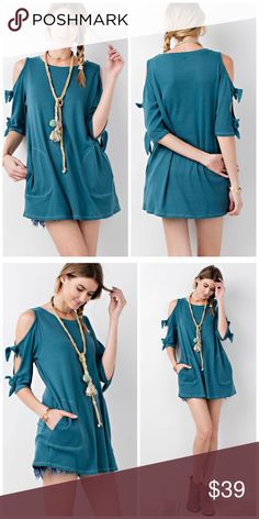 PREORDER New For Spring! Cold Sleeve Pocket Tunic! SOFT AND COZY COLD HALF SLEEVE BOW DETAILING BRUSHED LOOSE FIT KNIT TUNIC WITH SIDE POCKET Tops Tunics