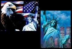 Statue of Liberty 2-Poster Combo - Bald Eagle, Twin Towers Patriotic Designs - available at www.sportsposterwarehouse.com