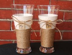 Wedding Decoration / Shabby Chic Wedding by CarolesWeddingWhimsy, $22.99  Rustic Wedding Decoration Beer Toasting Glasses for the Mr. and Mrs. can be found at  https://www.etsy.com/listing/151743539/wedding-decoration-shabby-chic-wedding
