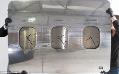 Another design is the time-zone wall clock made from a piece of Boeing 747 fuselage, pictured, and its windows. The clock costs £1,200 per w...