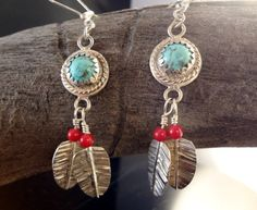 Turquoise and Coral Feather Dangle Earrings by Tamsjewelrydesigns