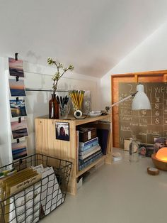 Using only what I had, I created an inspiring work space that's organized and free of distractions.like windows! Home Office Organization, Office Decor, Small Space Office, Ikea Desk, My Workspace, Looking Out The Window, Attic Spaces, Working Area, Lovely Things