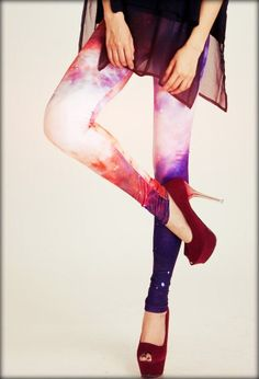 Galaxy-print leggings in red will nail your outfit! #chicwish I've always wanted a while galaxy outfit!