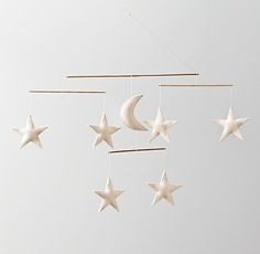 Restoration Hardware Baby & Child's Wool Felt Night Sky Mobile:A crescent moon and six stars float in the sky, creating the perfect celestial moment for even the tiniest stargazers. Star Mobile, Felt Mobile, Baby Boy Rooms, Baby Boy Nurseries, Kids Rooms, Baby Bedroom, Girl Nursery, Nursery Decor, Nursery Ideas