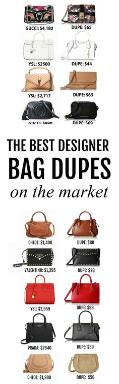 THE BEST dupe guide I've found! | Fashion blogger Michelle Kehoe of Mash Elle shares where to find the most affordable designer bag dupes on the Internet. Includes dupes of: Chloe, Yves Saint Laurent, Gucci, Valentino, Prada and Chanel!