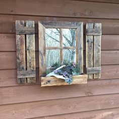 This Shutter Mirror with attached window box will be just the accent piece y Western Mirror, Western Wall Decor, Wood Wall Decor, Boho Stil, Décor Boho, Shabby Chic Bedrooms, Shabby Chic Homes, Rustic Bedrooms, Wood Bedroom