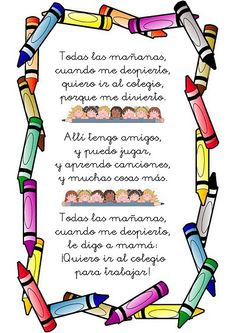 Poesia de la escuela para niños. Poema para educación infantil Bilingual Classroom, Bilingual Education, Classroom Language, Spanish Classroom, Early Education, Middle School Spanish, Elementary Spanish, Teaching Spanish, Preschool Prep