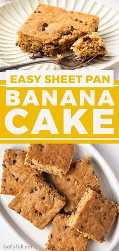 This sheet pan Banana Cake is the best combination of a cake, banana bread, and chocolate chip cookies all rolled into one! Banana Recipes Clean Eating, Healthy Banana Recipes, Banana Snacks, Banana Dessert Recipes, Easy Delicious Recipes, Homemade Desserts, Healthy Dessert Recipes, Potluck Recipes, Candy Recipes