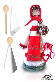 "This is the Baba Marta doll, made of paper, wooden spoon and yarn. The pictures were sent to us by Eli Radkova, teacher of Maya the Bee group from ""Chuchuliga"" kindergarten, Plovdiv. Diy Paper Christmas Tree, Christmas Colors, Wicca, Diy Sock Toys, Diy For Kids, Crafts For Kids, Baba Marta, Paper Towel Crafts, Empty Plastic Bottles"