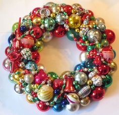 "Vintage Handmade Glass Christmas Ornament Wreath 21"" Shiny Brite Beaded Garlnad | eBay"