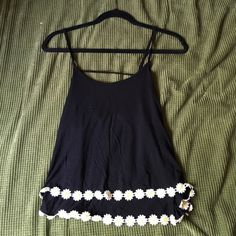 Black Spaghetti Strap Open Back Tank with Flowers Worn a few times, like NEW Tops Blouses