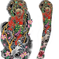 Can't wait to start this raijin sleeve on my bro Japanese Demon Tattoo, Japanese Sleeve Tattoos, Raijin Tattoo, Teardrop Tattoo, Lightning Tattoo, Tattoo Bein, Traditional Japanese Tattoos, Japanese Tattoo Designs, Japan Tattoo