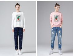 Nicole Cactus Printed Loose Long Sleeve pullover sweatshirt