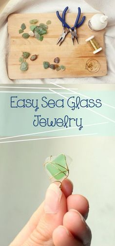 DIY Jewelry Easy Sea Glass Jewelry, I've been planning on doing this! With small shells too! A Gift for Mom - Easy Sea Glass Jewelry How to DIY Plastic Shell Jewelry, Sea Glass Jewelry, Wire Jewelry, Jewelry Crafts, Gold Jewelry, Jewlery, Beaded Jewelry, Hang Jewelry, Diy Jewelry Gifts