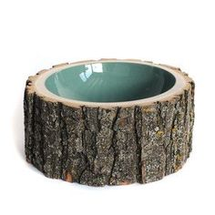 reclaimed log bowl with a colorful gloss interior