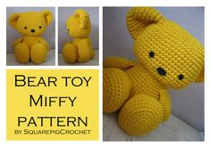 Bear toy Miffy Crochet pattern, so cute and about 12 inches tall! Crochet Round, Double Crochet, Single Crochet, Knit Crochet, Crochet Hats, Chain Stitch, Slip Stitch, Softies, Plushies