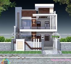 5 bedroom flat roof contemporary India home 5 bedroom contemporary style flat roof house plan in an area of 3000 square feet by S. Bungalow Haus Design, Duplex House Design, House Front Design, Modern House Design, House Exterior Design, House Outside Design, Modern House Facades, Minimalist House Design, Small House Design
