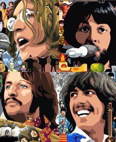 Beatles Poster, Les Beatles, Beatles Art, Rock Posters, Concert Posters, John Lennon, Ringo Starr, Caricatures, Popular Bands