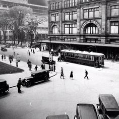 Tram on Sainte-Catherine Street West at the corner of Philipps Square, 1930 Montreal Old Montreal, Montreal Ville, Montreal Quebec, Montreal Canada, Quebec City, Old Pictures, Old Photos, Montreal Architecture, Rue Sainte Catherine