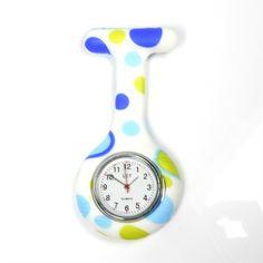 REloj de enfermera para bata de colores azul y verde con imperdible