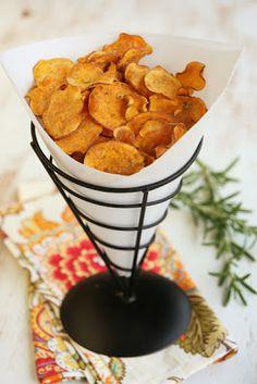 Crispy Baked Sweet Potato Chips with Rosemary Garlic Salt