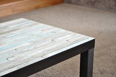This Ikea Lack coffee table makeover is the easiest you will ever see! The plain table top is transformed with this simple hack that takes about Coffee Table Hacks, Ikea Lack Coffee Table, Coffee Table Makeover, Desk Makeover, Furniture Makeover, Coffee Tables, Furniture Ideas, Ikea Table Hack, Diy Table