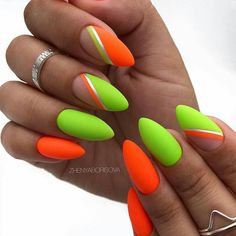 Want some ideas for wedding nail polish designs? This article is a collection of our favorite nail polish designs for your special day. Neon Orange Nails, Neon Nails, Pink Nails, Bright Nails Neon, Yellow Nails Design, Nail Design, Design Design, Design Ideas, Wedding Nail Polish