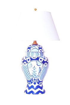 Summer Palace Ginger Jar Lamp in Blue