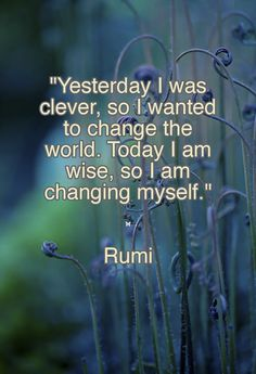 """Yesterday I was clever, so I wanted to change the world. Today I am wise, so I am changing myself.""  ❤︎ Rumi"