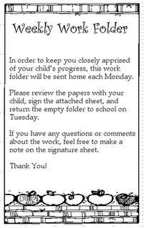 Classroom Freebies: Student Weekly Work Folders